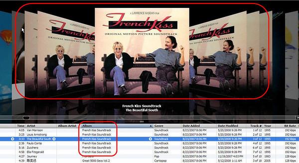 iTunes Coverflow showing copies of same album art for same album
