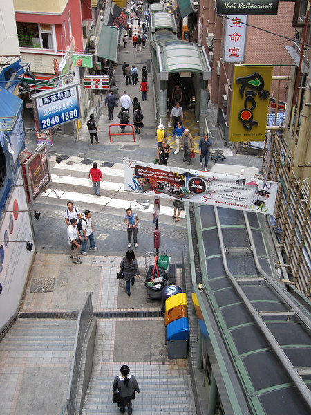 A view from the top of the Hong Kong Central Mid Levels Escalators