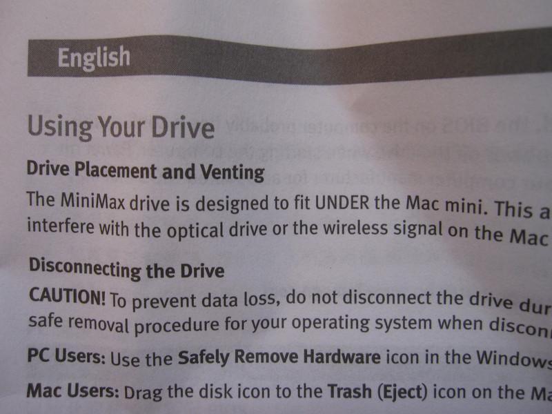 Iomega Mini Max 1 TB Hard Disk Instructions
