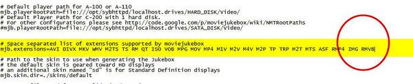 Adding RMVB to the properties files in YAMJ