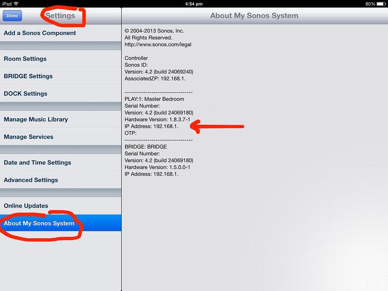 IP address of Sonos Play One Singapore